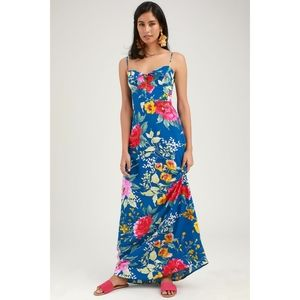 Lulus Santiago Floral Print Tie-Front Maxi Dress